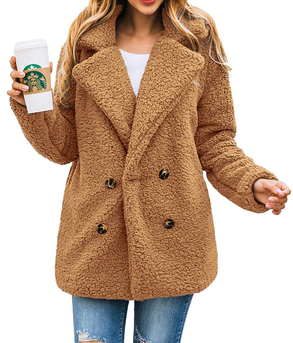 PRETTYGARDEN Women's Fashion Long Sleeve Lapel Zip Up Faux Shearling Shaggy Oversized Coat Jacket with Pockets Warm Winter (Z-Camel, XX-Large) by PRETTYGARDEN
