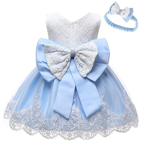 77d4d8e8a LZH Baby Girls Vestido Formal Bowknot Bautismo Bordado Vestido Tutu con  Sombreros