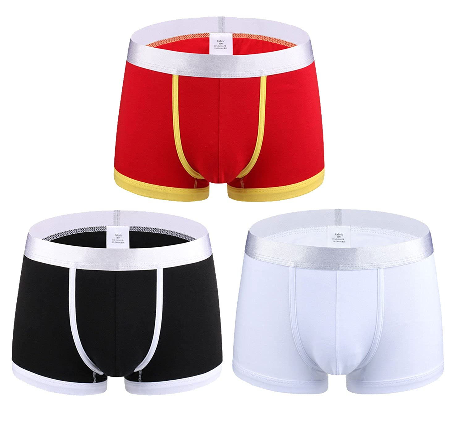 FEMAROLY Mens Underwear Cotton Students Elastic Breathable Boxer Briefs 3-Pack
