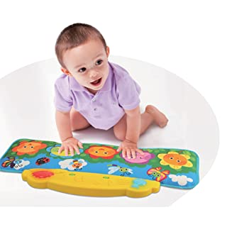 Flower Garden Kick and Touch Musical Baby Piano Mat, for the Crib and Floor, with Flashing Lights and Sounds, 10 Demo Melodies, 2 Volume Controls, 5 Large Flower Keys, 3 Play Modes, by Dimple