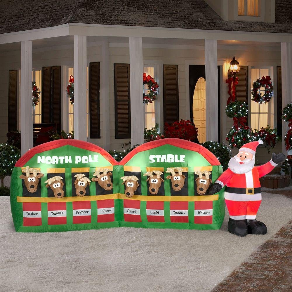 NEW Christmas 11' Inflatable Santa With Reindeer In North Pole Stable Outdoor Lawn Decoration