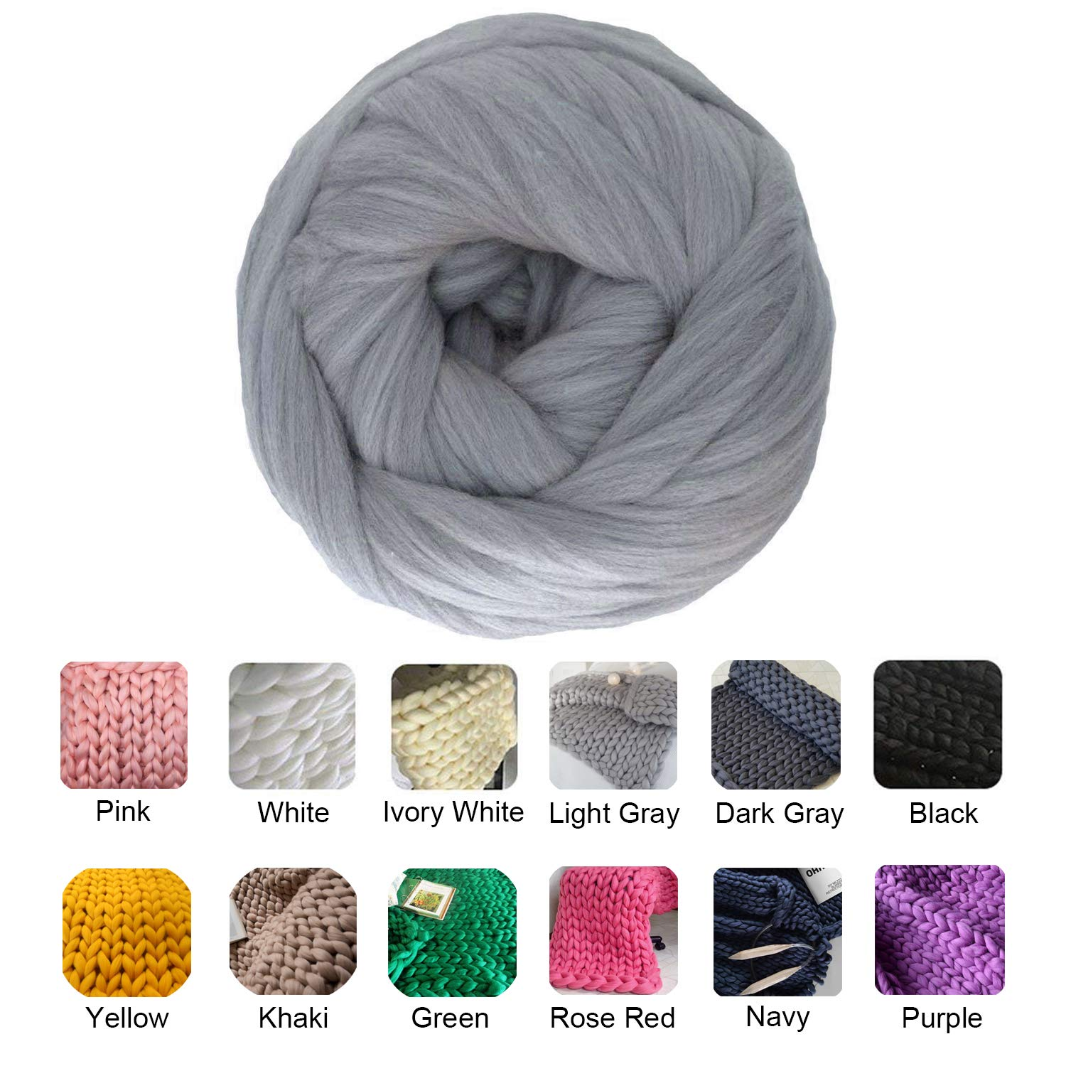 clootess Bulky Chunky Yarn Big Roving Wool for Hand Made Knitted DIY Sofa Bed Throw Blankets Light Grey 8 lbs = 3.6 kg