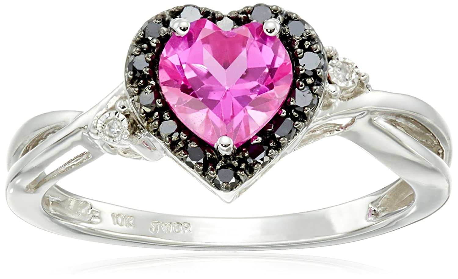 Amazon.com: 10k White Gold Heart Shaped Created Pink Sapphire with ...