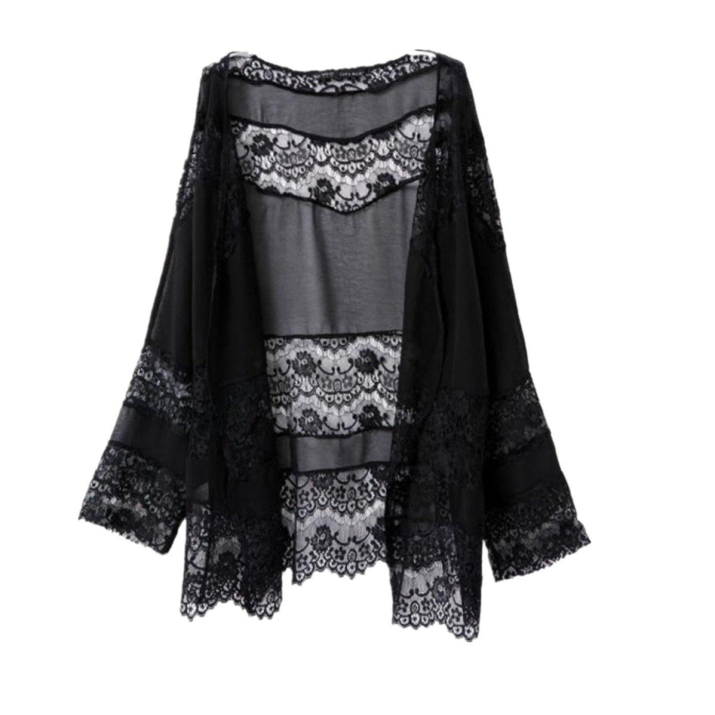 Sumen Women Lace Hollow Chiffon Kimono Cardigan Blouse Coat Casual Top Cover up