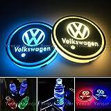 YenCar 車用 LED ドリンクホルダー レインボーコースター 車載 ロゴ ディスプレイライト LEDカーカップホルダー マットパッド (フォルクスワーゲンVolkswagen 2)