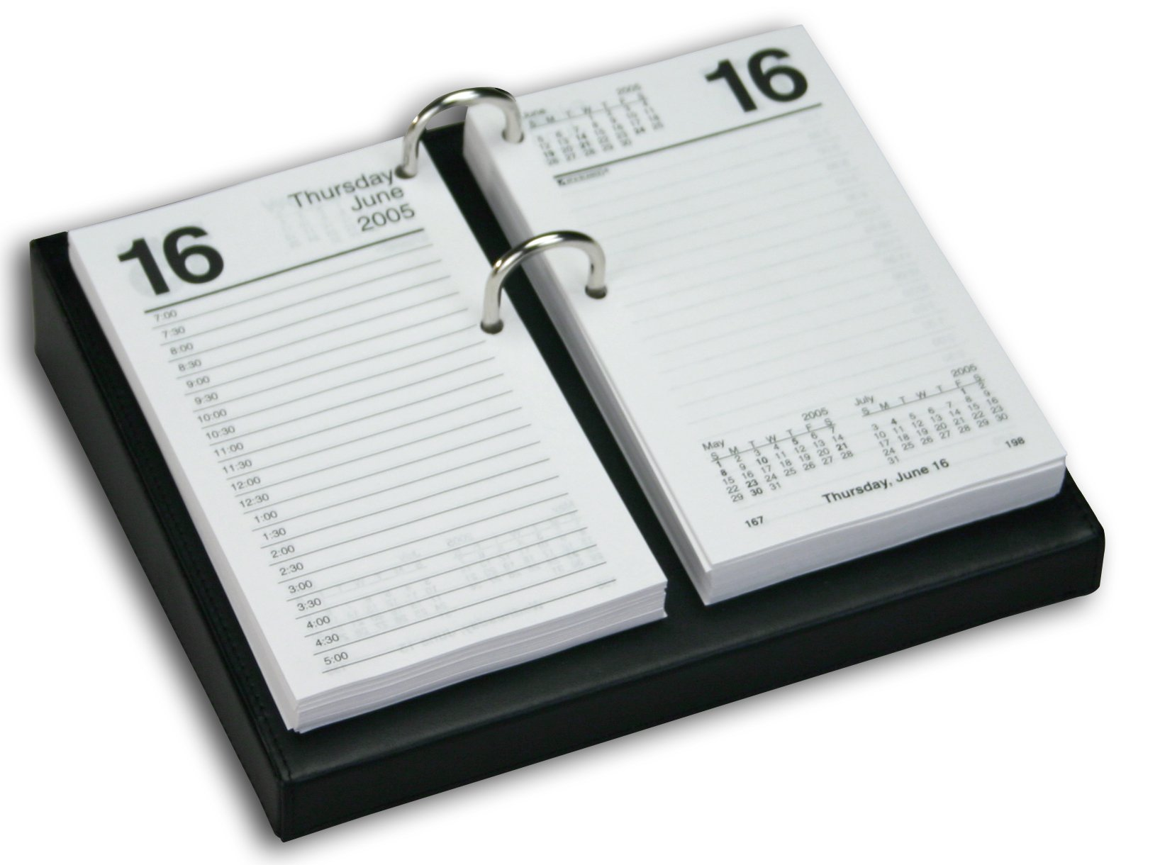 Dacasso Black Leather Desktop Calendar Holder with Silver Bolts, 3.5-Inch by 6-Inch