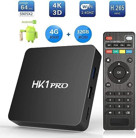 HK1 Pro TV Box, Android 8.1 Smart Box 4GB RAM 32GB ROM Amlogic S905X2 Quad Core