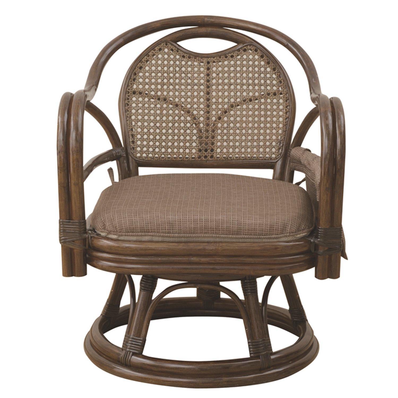 山善(YAMAZEN) 籐(ラタン)製 らくらく立ち上がり肘付き回転座椅子(座面高さ33cm) ブラウン TF27-778(BR) B00C7KYYQ2  座面高さ33cm