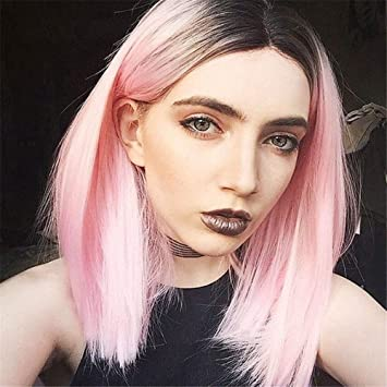 Amazon.com  TopWigy Pink Ombre Lace Front Wigs Shoulder