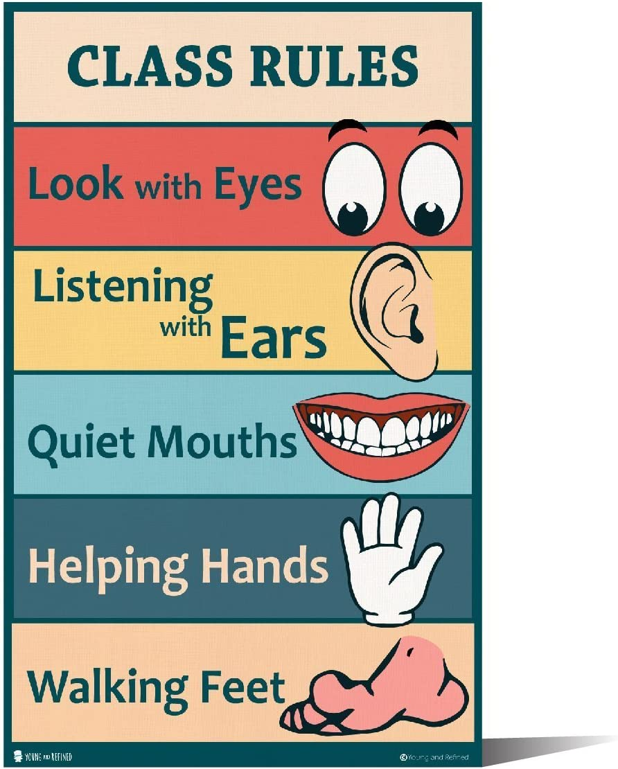 Amazon Com Classroom Rules Sign Chart Laminated Small By Teachers For Young Students Learning In Kindergarten Nursery Pre School Young N Refined 10x20 Office Products