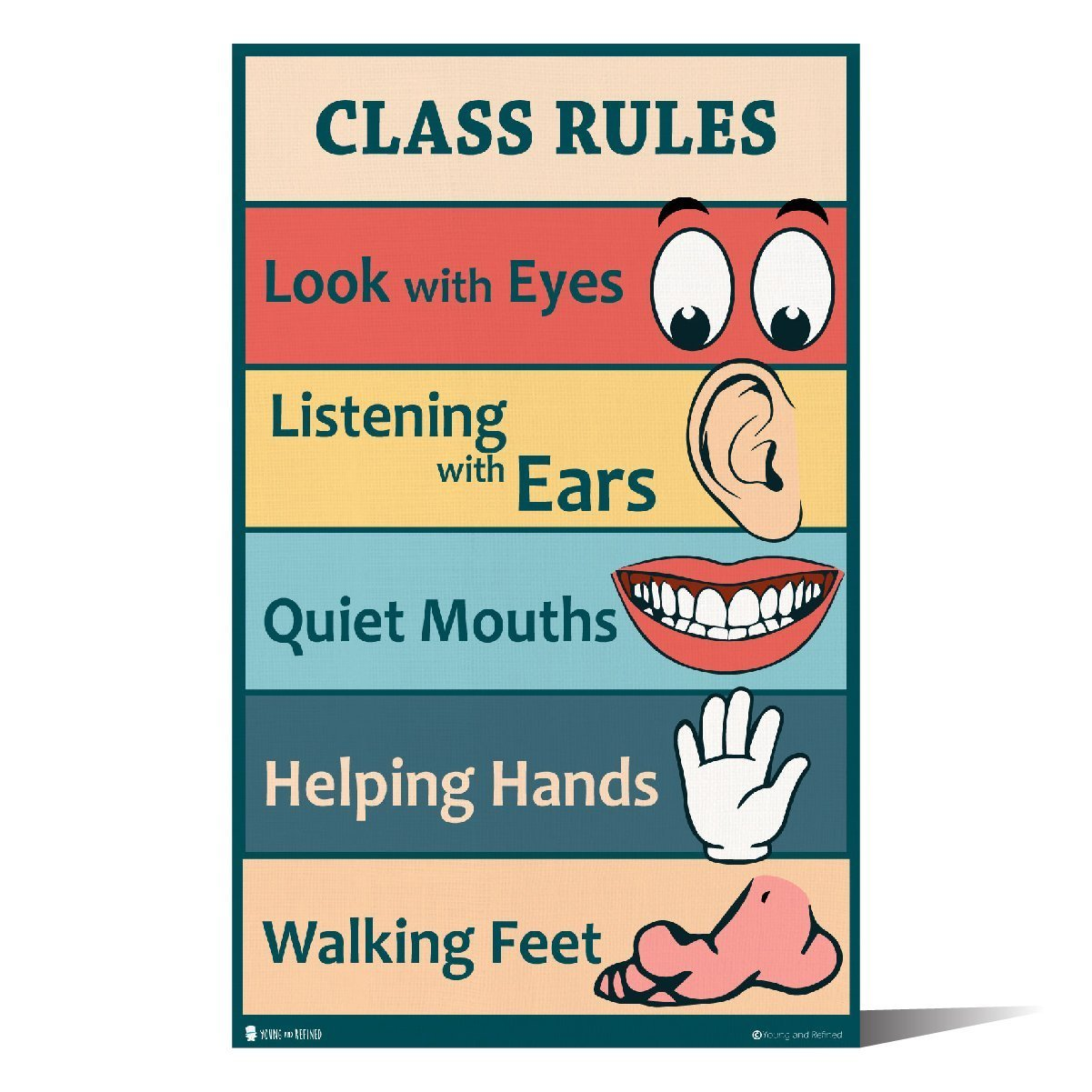 Classroom Rules sign chart LAMINATED SMALL by Teachers for young students learning in kindergarten nursery pre school (9x18) Young And Refined