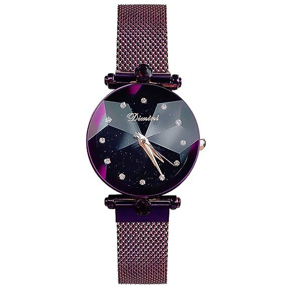 RORIOS Moda Mujer Relojes de Pulsera Cielo Estrellado Magnética Mesh Band Diamante Simulado Dial Relojes de Mujer Impermeable: Amazon.es: Relojes