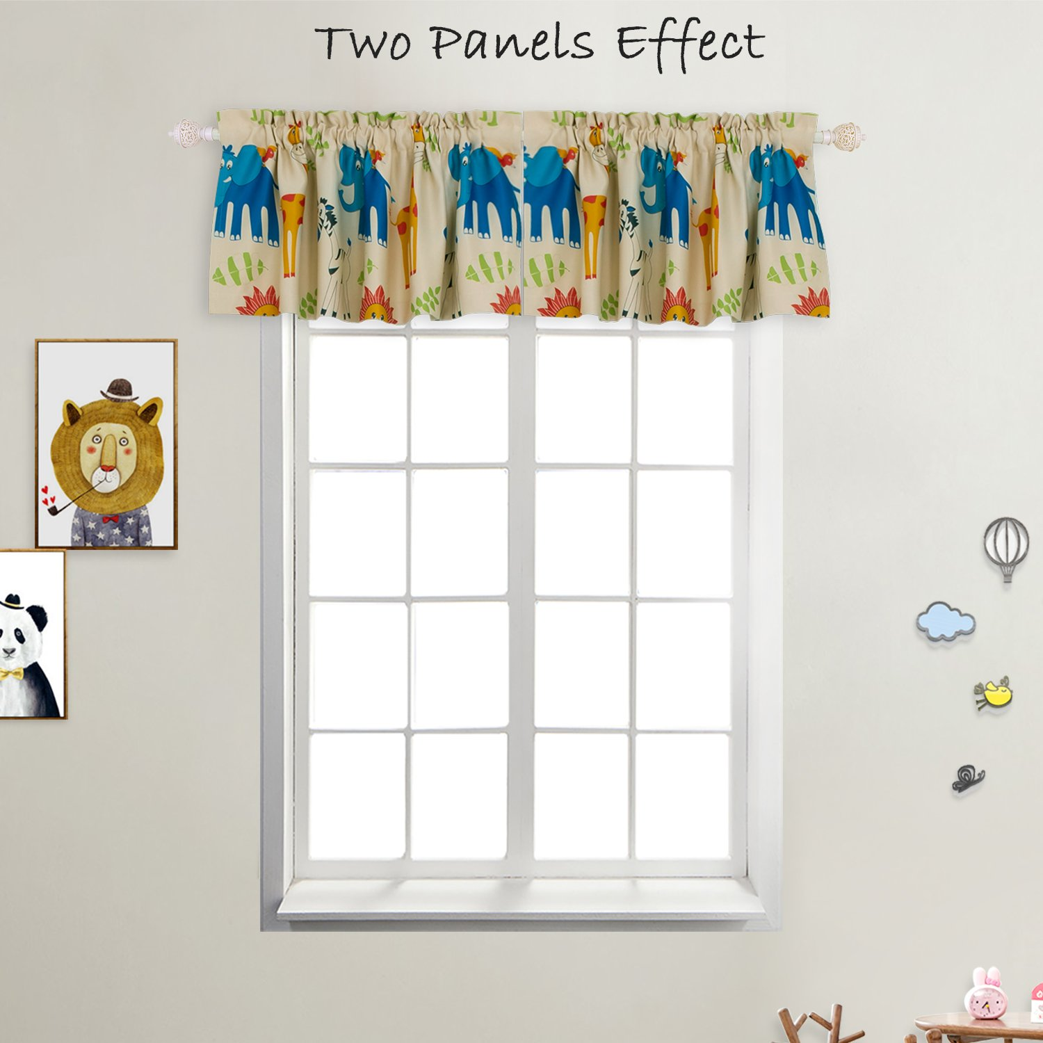 BGment Animal Zoo Kids Curtains for Bedroom Darkening, Rock Poket Valance for Small Window, 2Panels (52'' Wx18 L, Curtains)