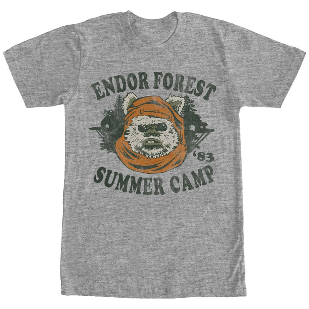 Star Wars Ewok Summer Camp Mens Graphic T Shirt (Small, Heather Grey)