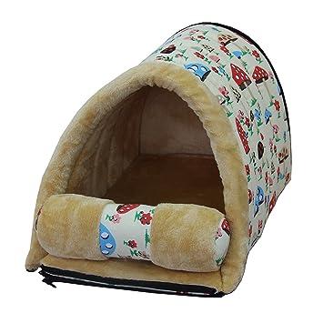 Cama y caseta para mascotas 2 en 1 Mixse, tela Oxford, sin pelo, acolchada, para perros pequeños, cachorros o gatos: Amazon.es: Productos para mascotas