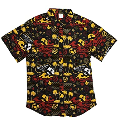 1d959227 Route One Apparel | Officially Natty BOH Beach Red and Gold Hawaiian Shirt  (Small)