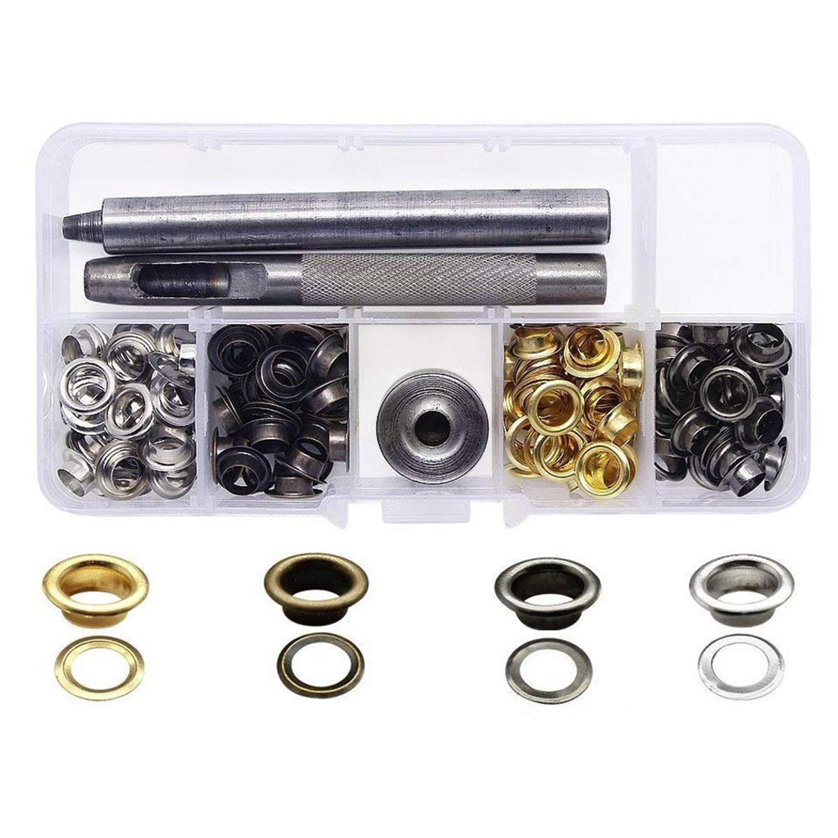 Yakamoz Grommets Kits with 120 Set Grommets, 3 Pieces Fixing Tools for Canvas Clothes Leather