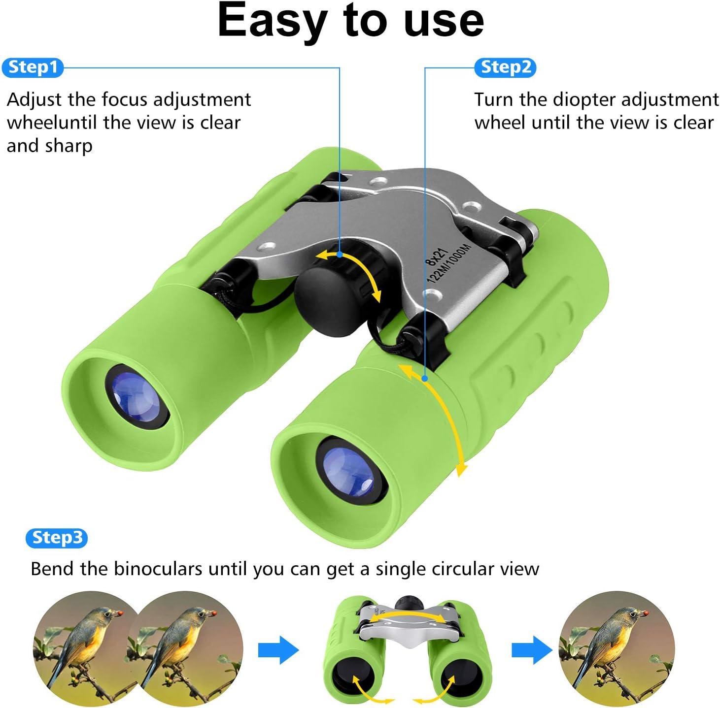 Binoculars for Kids Waterproof Childrens Binoculars for Spy Camping 8 x 21 Real Optics Mini Compact Kids Binoculars with Neck Strap Telescope Toys for 3-12 Years Boys Girls Bird Watching