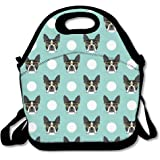 Best4UZ Boston Terrier Dog Blue Lunch Box Bag Lunch Tote Lunch Holder With Adjustable Strap For Kids And Adults For School Picnic Office Travel Outdoor School