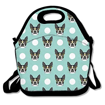 89d5f235574a Best4UZ Boston Terrier Dog Blue Lunch Box Bag Lunch Tote Lunch Holder With  Adjustable Strap For Kids...