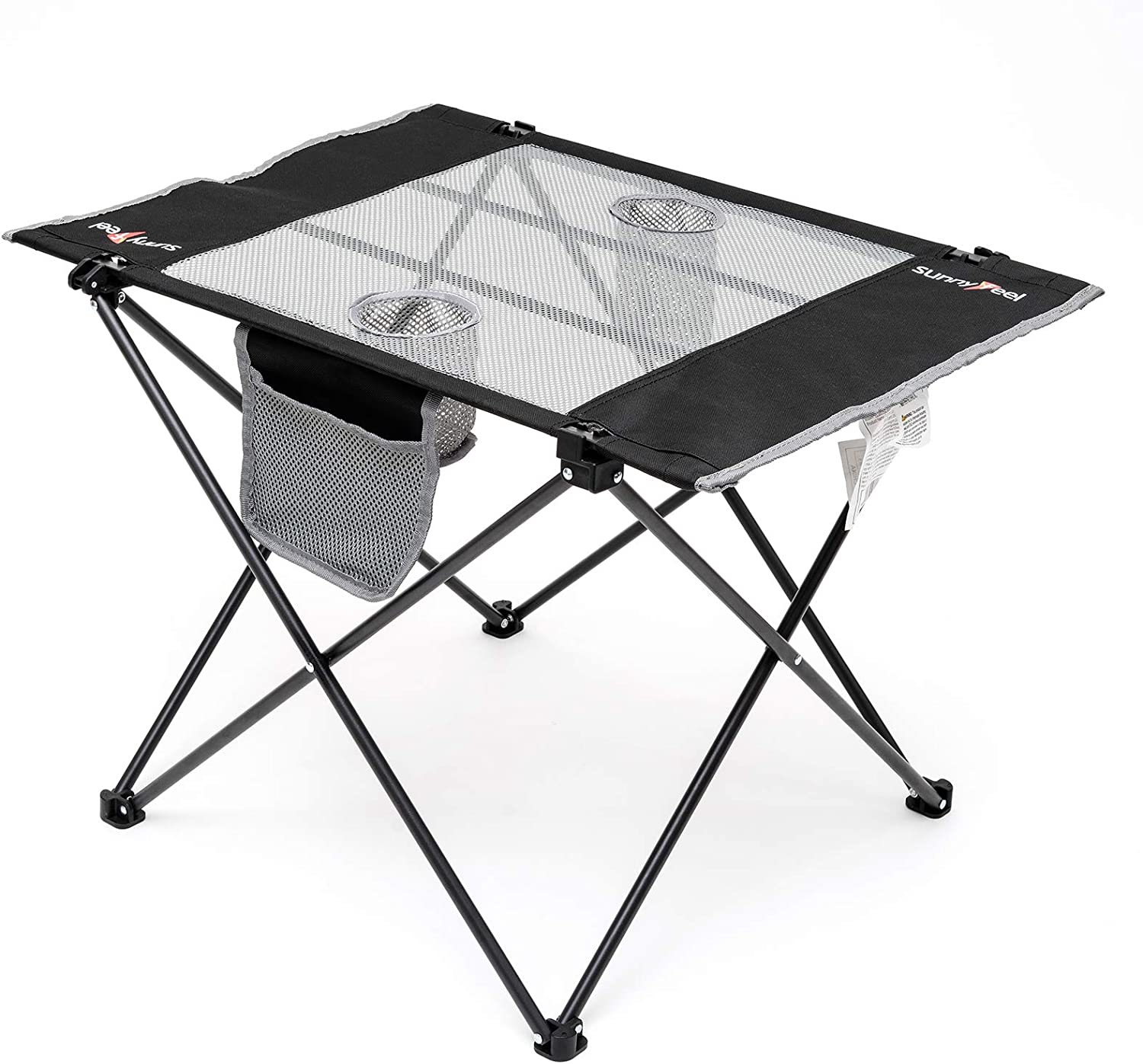 Sunnyfeel Fabric Foldable Camping Table, Compact, Lightweight, Folding Table with Cup Holder & Side Pocket for Beach/Lawn/Outdoor/Indoor/Travel/Picnic, Folding Camp Table with Carry Bag (Black)