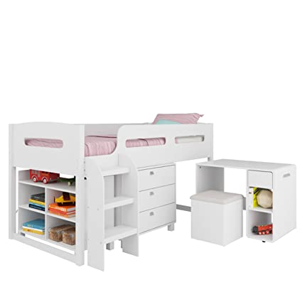 Amazon Com Corliving Bmg 210 B Madison Loft Bed Single Twin Snow