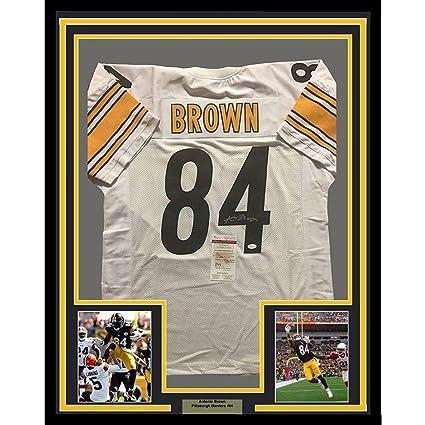 2eefdaf7b Antonio Brown Autographed Jersey - FRAMED 33x42 White COA - JSA Certified - Autographed  NFL Jerseys