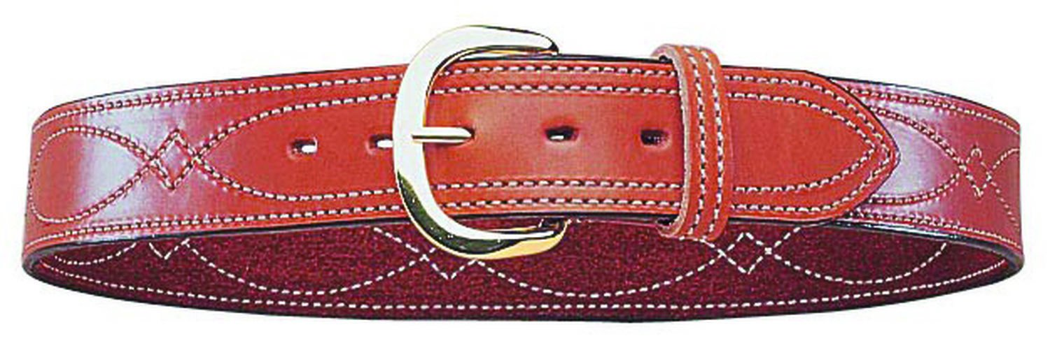 Bianchi B9 Fancy Stitched Belt Tan Brass Buckle Bianchi Gun Leather 12286-Brass Buckle