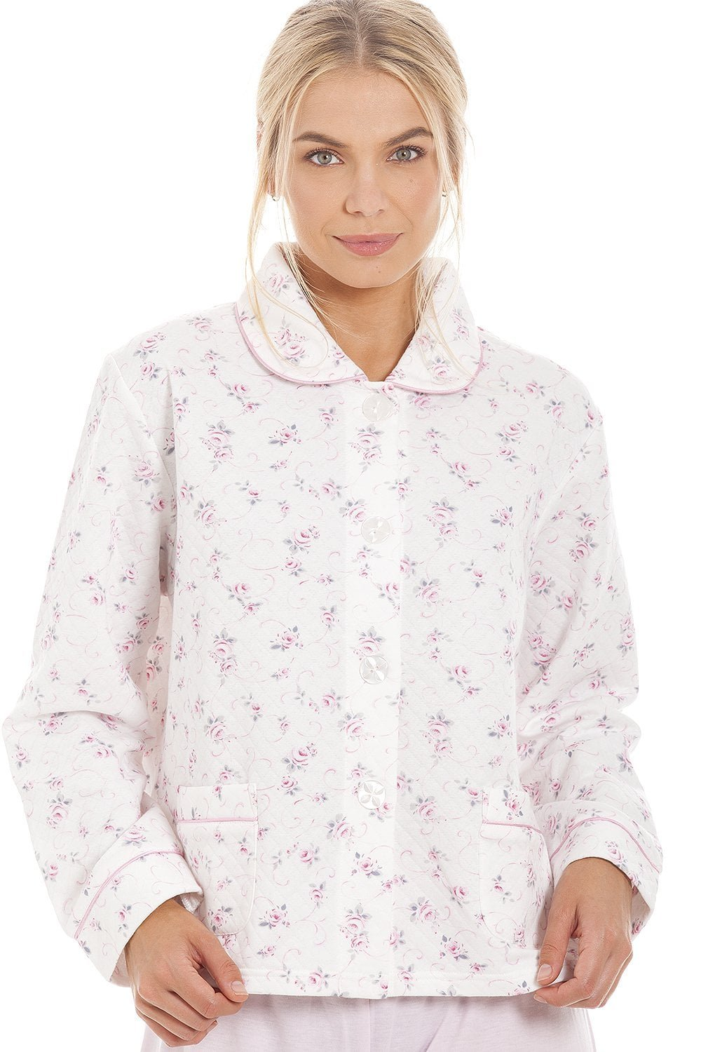Camille Classic Pink Rose Print Quilted Bed Jacket 18/20 Pink