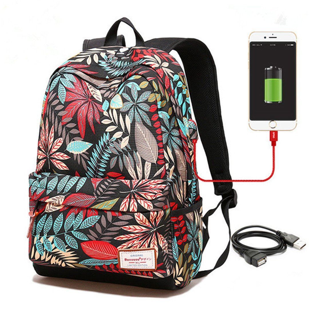 1fcda9d499 Amazon.com  Women Usb Charging Laptop Backpack For Teenage Girls School Bag  Printing Female Backpacks College Students blue big  Sports   Outdoors