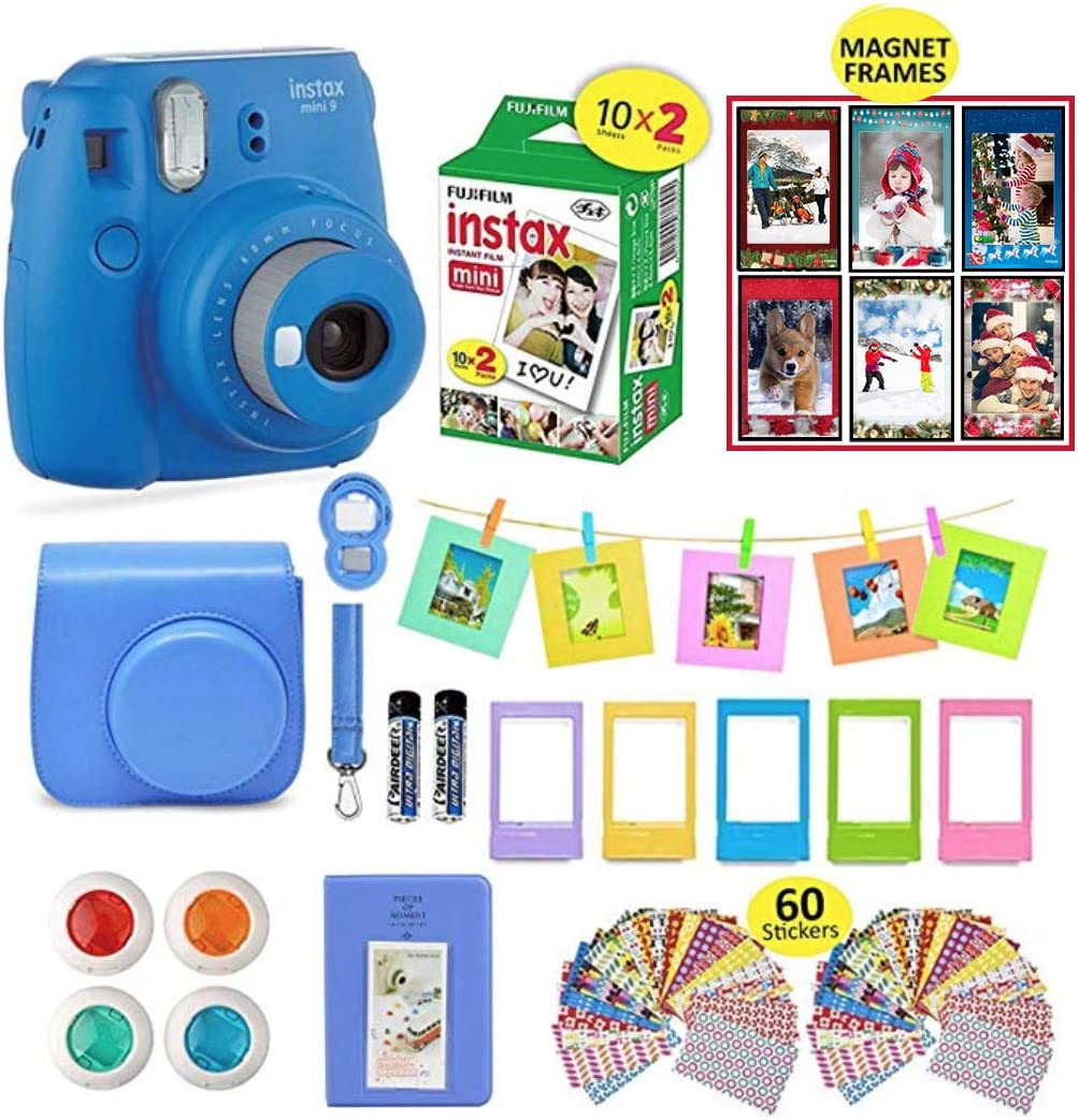 Fujifilm Instax Mini 9 Camera Bundle + 20 Instant Fuji-Film Sheets, Instax Camera Case + 14 PC Instax Accessories Bundle, Fuji Mini 9 Gift Kit, 2 Albums, Lenses, 60 Stickers + 5 Desk Frames