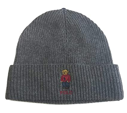 ca2de84a18a Polo Ralph Lauren Unisex Bear Design Wool Winter Skulllie Cap Beanie Hat  One Size (Dark Gray Red Sweater) at Amazon Men s Clothing store