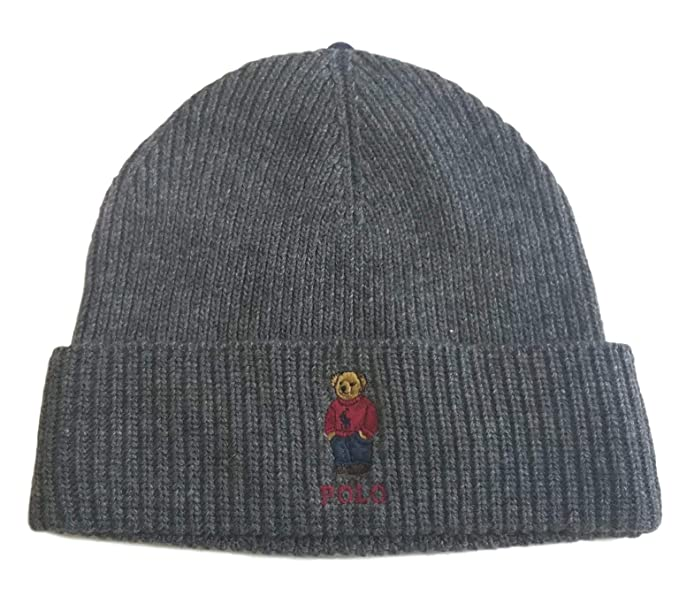 be14677e11c Polo Ralph Lauren Unisex Bear Design Wool Winter Skulllie Cap Beanie Hat  One Size (Dark