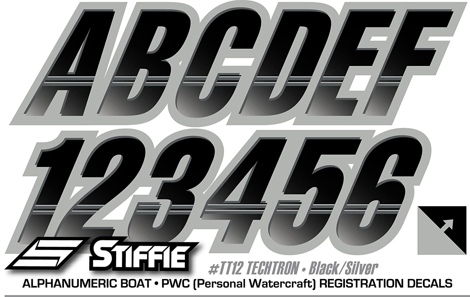 Stiffie Techtron Black//Silver 3 Alpha-Numeric Registration Identification Numbers Stickers Decals for Boats /& Personal Watercraft