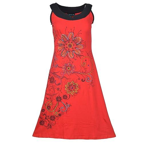 Abito donna senza maniche con stampe floreali e ricami colorati