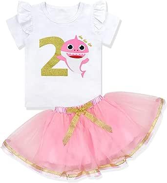 Baby Girls Birthday Shark Doo Doo Doo Romper + Tutu Dress 1st Birthday Outfit Set
