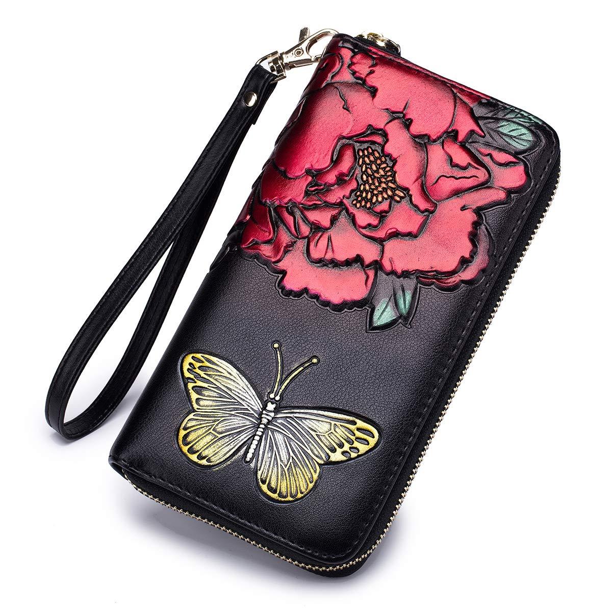 Red imeetu RFID Blocking Credit Card Holder Case Clutch Bag Wallet Women Leather Large Wristlet Purses with Zipper Pocket
