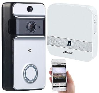 Somikon Kamera für Haustür: WLAN-Video-Türklingel mit App, PIR-Sensor,  Akku, IP53, Funk-Empfänger (Klingel mit Kamera)