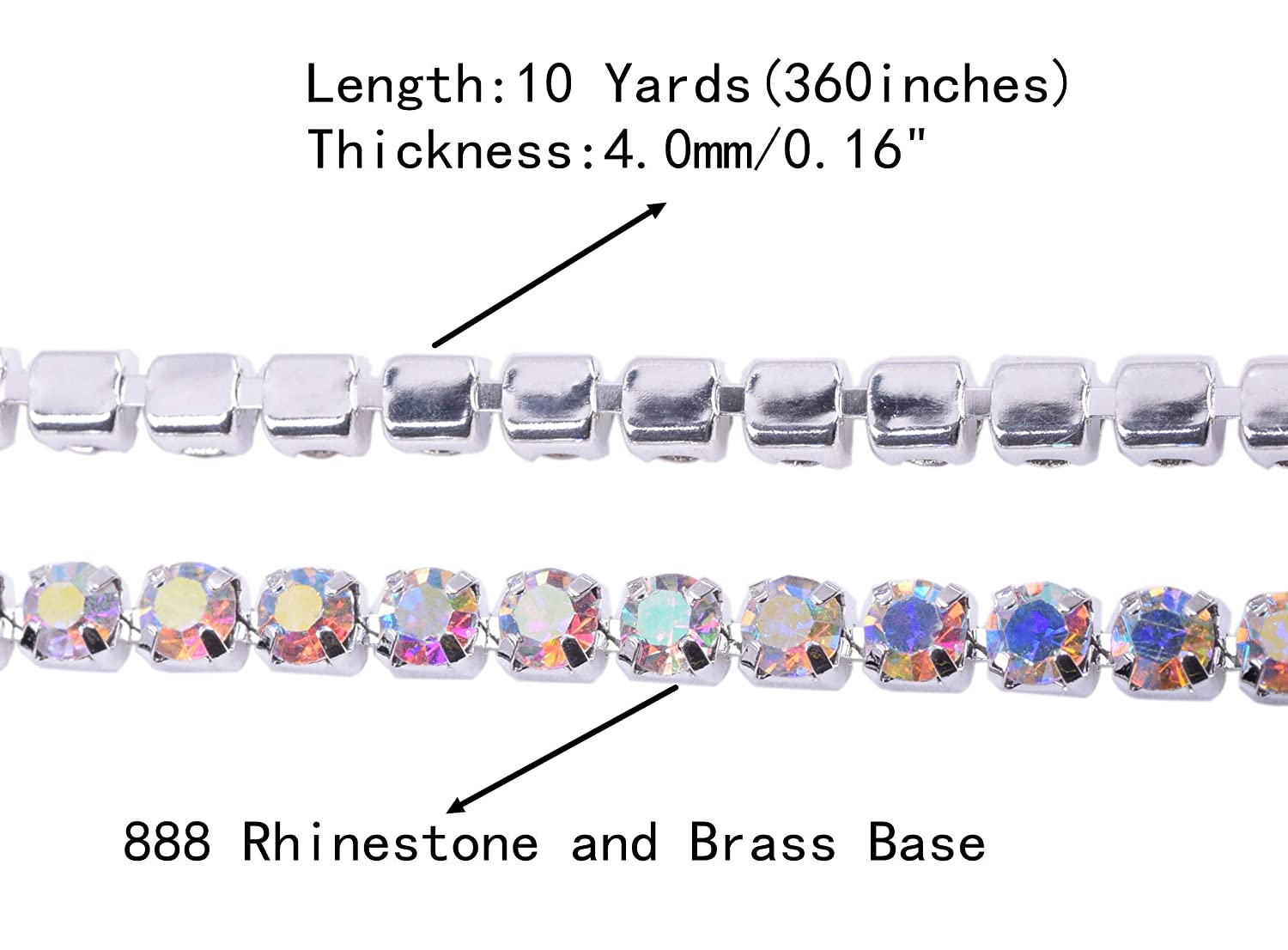 KAOYOO 10 Yards Crystal Rhinestone Close Chain Trim with Emerald Beads SS16//4.0mm//0.16 Golden Chain for DIY Decoration