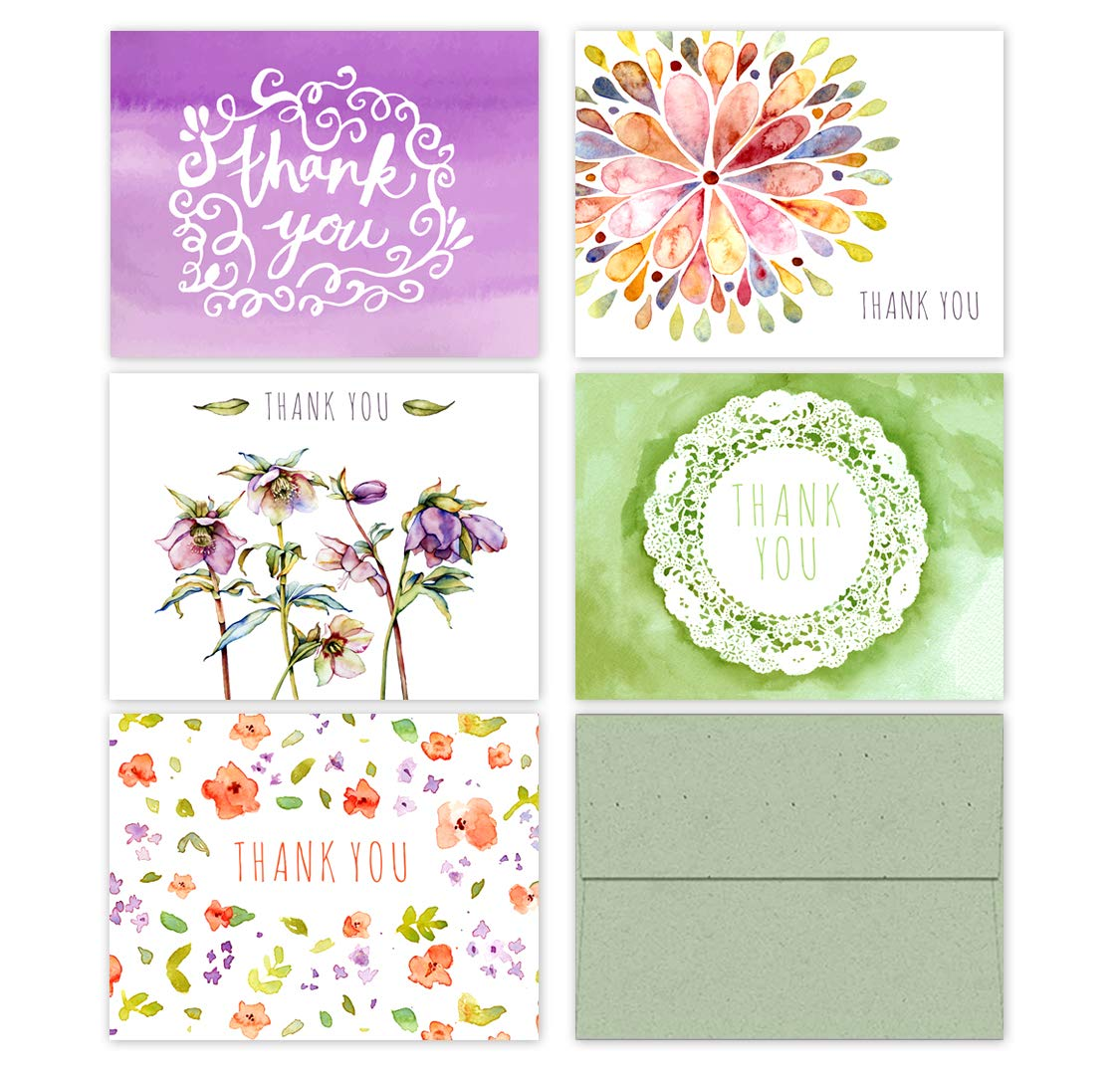 10 Premium Thank You Cards with Sage Green Envelopes Assorted All-Occasion Note Card Bulk Set - 5 Unique Designs Floral Watercolor Thank You Cards Made in The USA by Palmer Street Press