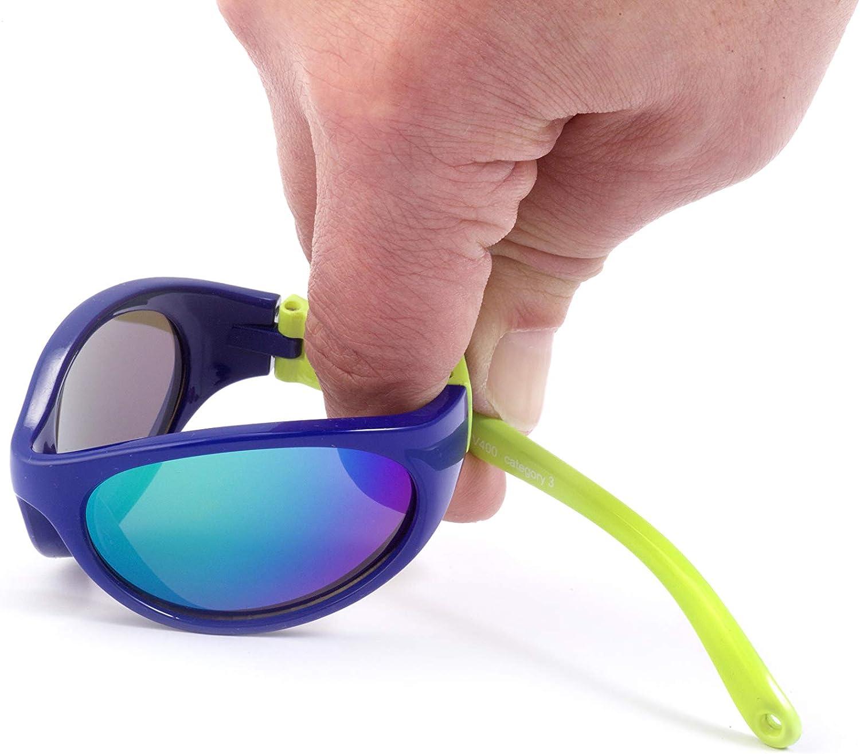 S/ûres 100/% protection UV Kiddus Lunettes de Soleil pour Gar/çons et Filles Confortables et tr/ès R/ésistantes Entre 2 et 6 ans Gomme Super Flexible avec Bande /Élastique R/églable Kids Comfort