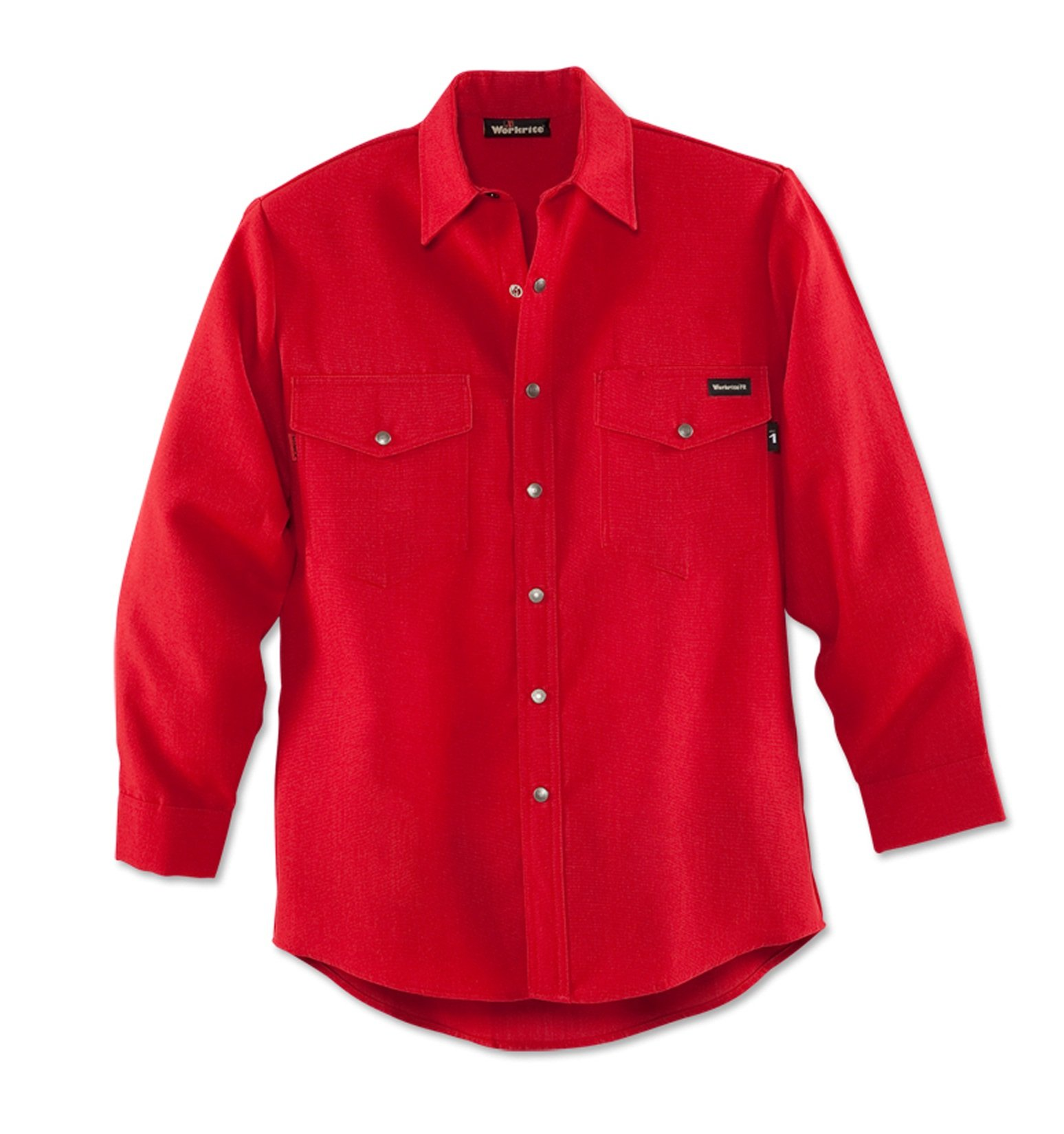 Workrite 220NX45RD42-0L Flame Resistant 4.5 oz Nomex IIIA Long Sleeve Western-Style Shirt, Snap Cuff, 42 Chest Size, Long Length, Red