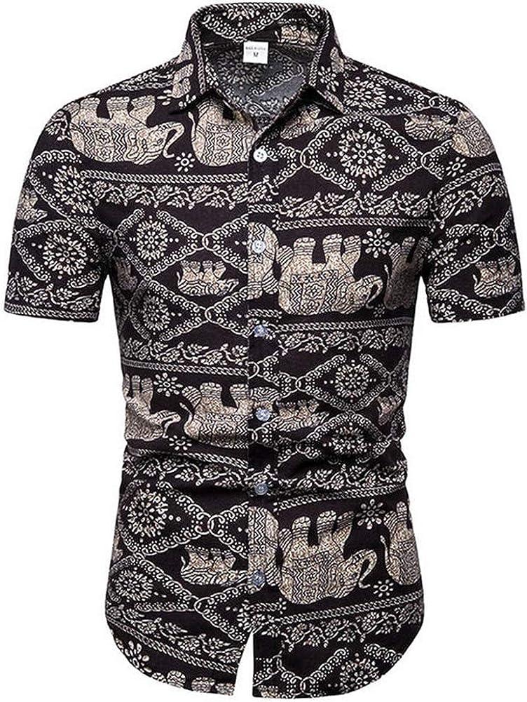 ZLL8 Mens Hawaiian Printed Shirt Mens Summer Beach Short Sleeve Shirts Casual