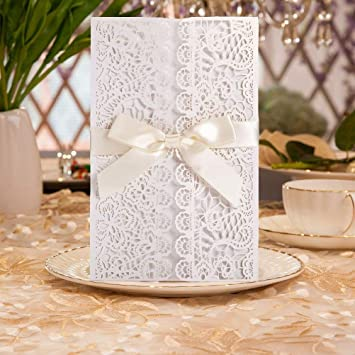 20pcs Wedding Bridal Shower Invitation Cards Dikete Diy Hollow Flower Lace Sleeve Cover Envelope Blank Card Bowknot Party Invitation Template
