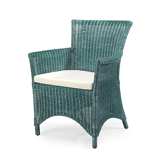Rotin Design REBAJAS : -27% Sillon de ratan de comedor o de salon verde - vintage - mobiliario de ratan
