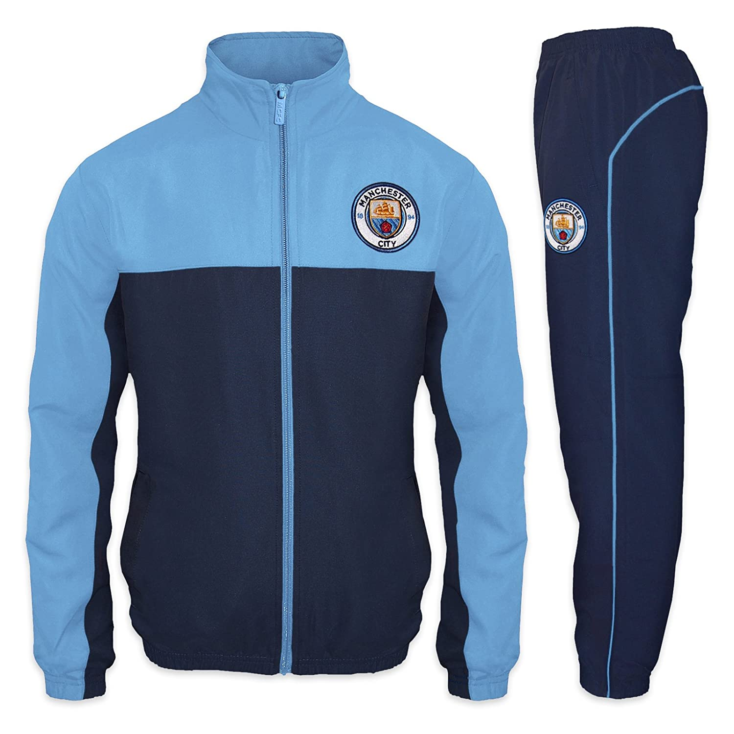 Manchester City FC Official Soccer Gift Mens Jacket & Pants Tracksuit Set