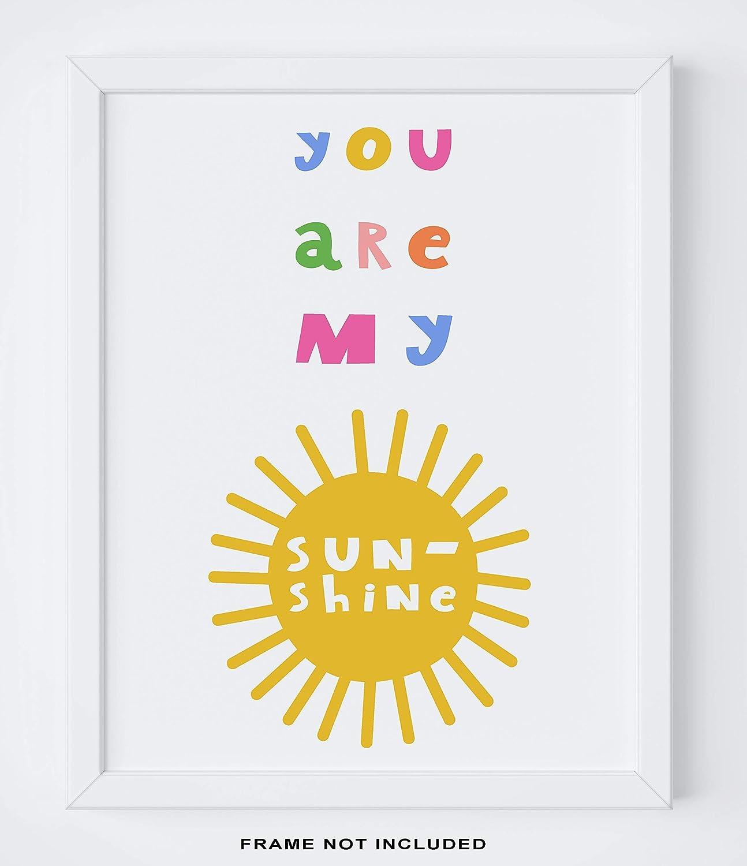 "Nursery Room Wall Art - 11x14"" UNFRAMED Print -""You Are My Sunshine"" - Baby Girl Nursery Rhyme Wall Decor - Makes A Great Gift Under $15"