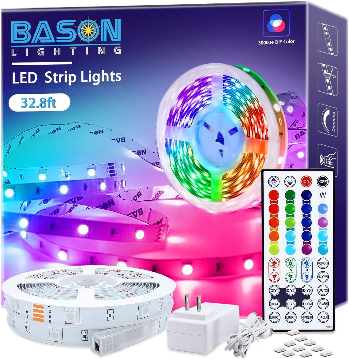 Led Strip Lights 32.8ft, Bason Led Lights for Bedroom with 44 Keys Remote and Power Supply, High Bright 300 LEDs Color Changing Light Strips Kit for Kitchen,Bar,Indoor,Party DIY Decoration.