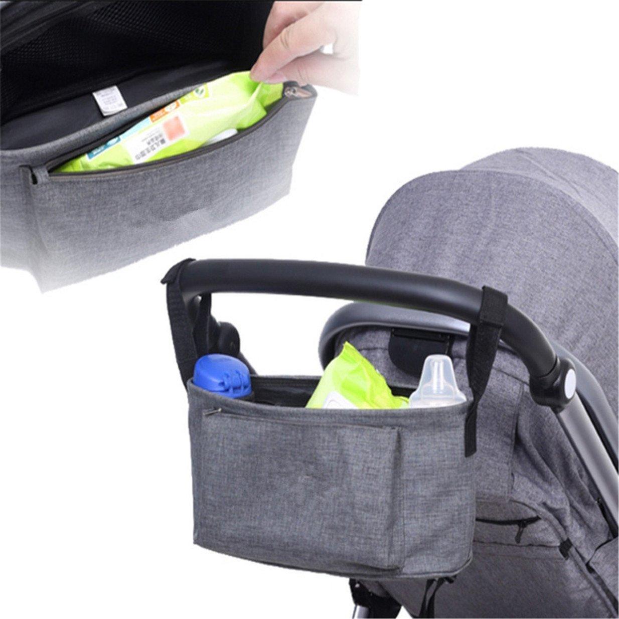 Lalang Grau Multifunktions Kinderwagen Zubeh/ör Aufbewahrungsbeutel Baby Windel Saugflasche Kinderwagen Organizer