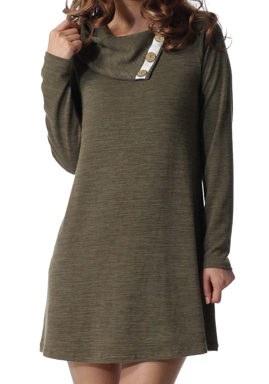 Army Green Levaca Women's Long Sleeve Button Trim Lapel Neck Loose Casual Dress Tunic